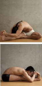 head to knee and stretching pose